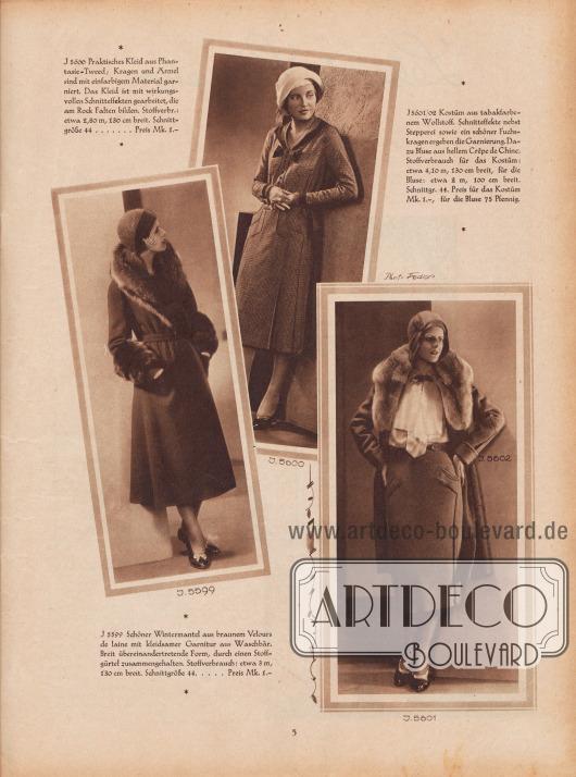 5599: Schöner Wintermantel aus braunem Velours de laine mit kleidsamer Garnitur aus Waschbär. Breit übereinandertretende Form, durch einen Stoffgürtel zusammengehalten. 5600: Praktisches Kleid aus Phantasie-Tweed; Kragen und Ärmel sind mit einfarbigem Material garniert. Das Kleid ist mit wirkungsvollen Schnitteffekten gearbeitet, die am Rock Falten bilden. 5601/02: Kostüm aus tabakfarbenem Wollstoff. Schnitteffekte nebst Stepperei sowie ein schöner Fuchskragen ergeben die Garnierung. Dazu Bluse aus hellem Crêpe de Chine. Fotos: Joel Feder, New York City (Lebensdaten unbekannt).