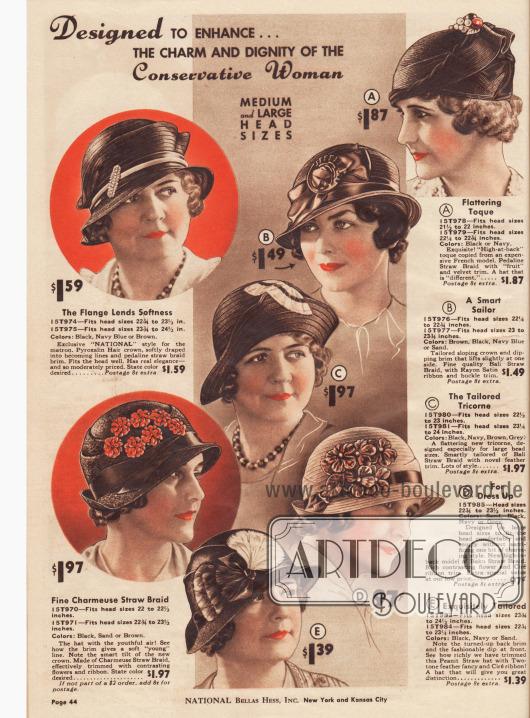 """Hüte um """"Charme und Würde der konservativen Frau"""" anzureichern. Der Stil der Hüte entspricht der Mode von 1931/32 und ist nicht nur für die konservative sondern auch für die ältere Dame gedacht."""