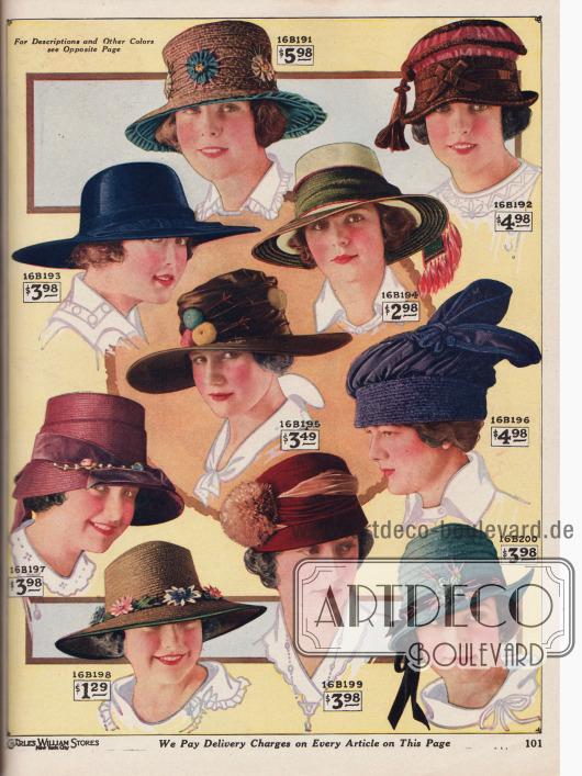 """Kolorierte Fotografien. Sommerhüte aus Seiden-Strohgeflecht, japanischem Glanzstroh, Georgette Krepp, """"Caperpillar Straw Braid"""" (?), Toquillastroh (engl. """"Toyo Panama"""") und anderen Strohsorten für Damen. Unter den Hüten befinden sich fünf breitkrempige Modelle, zwei Turbane und ein Modell in Schutenform. Die Damenhüte sind mit Faille Seide gefüttert oder mit blumenähnlichen Rosetten, breiten sowie schmalen Ripsbändern und Schleifen, Seidenschärpen, Seidenfransen-Quasten, Seidenschnur-Quasten, Drapierungen aus Faille Seide, künstlichen Früchten aus Krepp, Dahlienkränzen mit Blätterlaub, Pompons aus Straußenfedern oder auch Samtbändern aufgeputzt."""