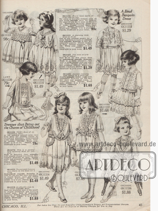 """Kleidchen für Mädchen von zwei bis sieben Jahre aus """"lawn cloth"""" (flach gewebter Leinenstoff), Organdy (transparenter Batist) und anderen leichten netzartigen Stoffen mit reichen Stickereien und Spitze."""