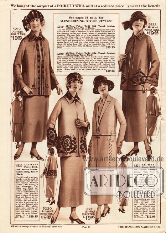 Kostüme der gehobenen mittleren Preisklasse aus Poiret Wolle für die modebewusste Dame.Die Jacken der Kostüme werden außer dem Modell 5221 offen getragen. Ornamentale oder blattwerkartige Stickereien verzieren die Kragen, Unterärmel und Jackenschöße. Die Jacke des ersten Modells (5219) präsentiert feine Biesen, anstatt einer Knopfleiste.