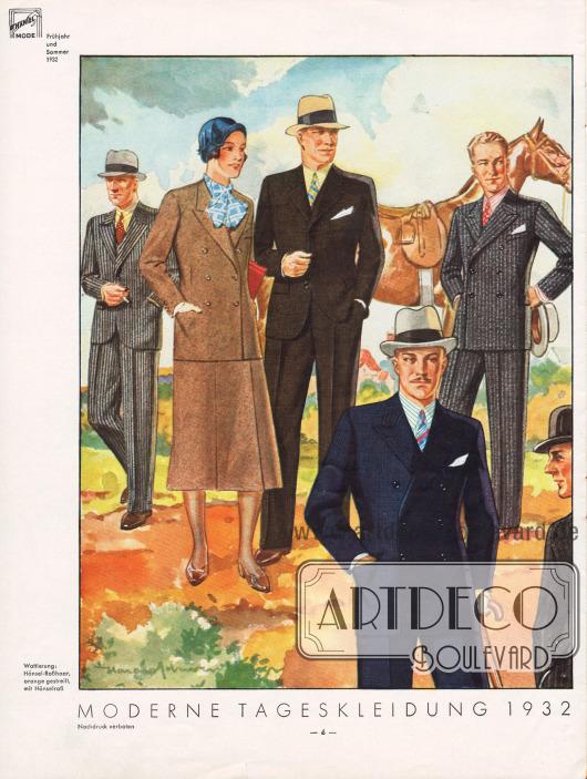 Elegante Tageskleidung für Männer, sowie ein Kostüm für die Dame. Auf der Seite sind je zwei einreihige und zwei zweireihige Sakkoanzüge für den Herrn zu finden.Zeichnung: Harald Schwerdtfeger.