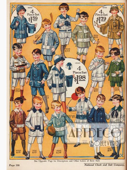 Spielanzüge mit kurzen Hosen für kleine Jungs.