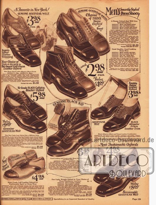 Elegante Anzugschuhe, Halbschuhe (Oxfords) und Stiefeletten aus Lackleder, Kalbsleder und alligatorartig genarbtem Leder für Männer. Die präsentierten Schuhe sind Halfbrogue Modelle, bei denen vorrangig der Rand der Vorderkappe (auch Querkappe) mit ornamentalen Lochverzierungen (Perforationen) versehen ist. Unten links wird ein zweifarbiger Sport Oxford, der auch als kleidsamer Anzugschuh verwendbar ist, angeboten. Die Sohle dieses Modells besteht aus weichem Gummi.
