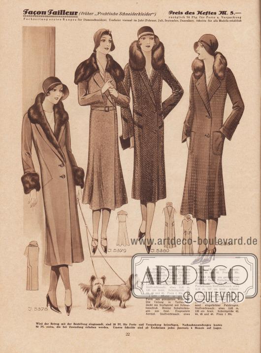 Herbstliche Damenmäntel aus mittelfarbigem Tuch, genopptem Wollstoff sowie gemustertem Lindener Samt und Wollstoff. Luchs, Seal, Fuchs und eingefärbtem Pelz finden als Kragenpelz Verwendung.