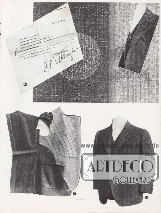 Weiterführung der Fotogeschichte der vorigen Seite: (11) bis (14) Weiterverarbeitung des Hänsel-Complets zum fertigen Sakko und Dankesbekundung eines Kunden.