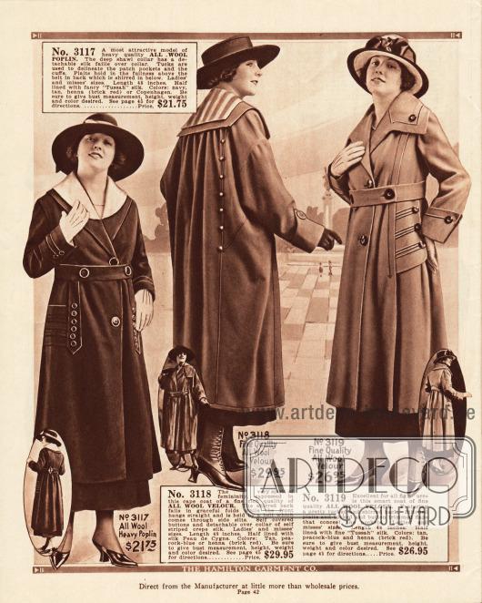 Weit geschnittene Damenmäntel der höchsten Preiskategorie von 21,95 bis 29,95 Dollar mit großen Zierknöpfen und sehr breiten Kragen. Die Mäntel bestehen aus reinem Woll-Popeline und Woll-Velours.