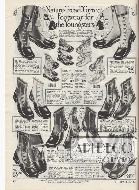 """""""'Natürliches-Laufprofil' richtiges Schuhwerk für die Kleinsten"""" (engl. """"'Nature-Tread' Correct Footwear for the Youngsters""""). Weiche Erstschuhe bzw. Babyschuhe für Kleinkinder bis 2 Jahre sowie Schuhe mit seitlichen Verschlussknöpfen für Mädchen und Jungen bis maximal 8 Jahre. Die Schuhe sind aus Lackleder oder Chevreauleder (Ziegenleder), wobei viele Modelle mit zwei unterschiedlich farbigen Ledersorten kombiniert wurden. Alternativ wurden die Schäfte auch aus Stoff (bspw. Kanevas) hergestellt. Die Baby- und Kleinkindschuhe (oben Mitte) wurden aus Lammleder oder Lackleder gefertigt und mit besonders weichen Sohlen für die noch zarten Füße ausgestattet."""