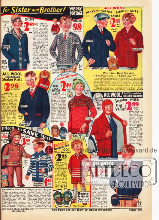 Strickjacken (Cardigans) und Pullover aus Wolle, Baumwolle oder Rayon für Jungen und Mädchen im Alter von 2 bis 14 Jahre. Unten links befinden sich ein Schneeanzug für Kleinkinder aus gekämmter Wolle und ein Strickanzug aus Wolle für 2 bis 6-jährige Jungen mit kurzer Hose.