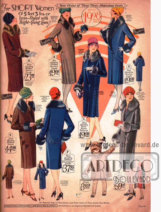 """Moderat bepreiste Damenmäntel speziell für Frau, die kleiner ist als 5 Feet und 3 Inch (1,60m). Wollstoffe in Lederoptik sind in der Wintermode 1927/28 hoch im Kurs. Die Mäntel sind z.B. aus """"All-Wool Buxkin Suede"""" und """"All-Wool Duvemere Suede""""."""