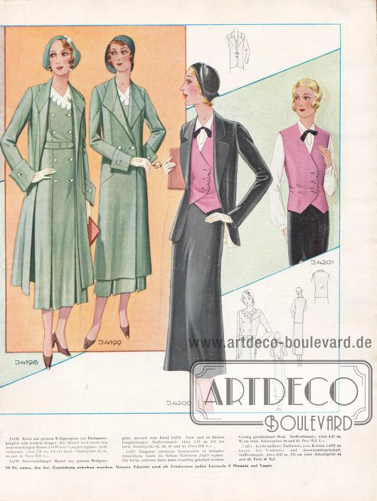 4198: Kleid aus grünem Wollgeorgette mit Perlmutterknöpfen und weißem Kragen. Das Modell wird durch den dreiviertellangen Mantel 4199 zum Complet ergänzt.4199: Dreiviertellanger Mantel aus grünem Wollgeorgette, passend zum Kleid 4198. Vorn und im Rücken Längsteilungen.4200: Elegantes schwarzes Samtkostüm in einfacher Schnittform, durch die farbige Tuchweste 4201 ergänzt. Die leicht taillierte Jacke kann einreihig geknöpft werden. Glockig geschnittener Rock.4201: Leicht taillierte Tuchweste, zum Kostüm 4200 zu tragen. Die Vorderteile sind übereinandergeknöpft.