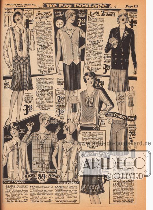 Sportkleidung für Damen. Im Angebot sind Damenblusen aus Baumwoll-Breitgewebe, Rayon-Satin und kariertem Baumwoll-Leinen. Spitz zulaufende Blusenschöße, Taschen und Biesen sind modern. Mittig rechts ein Pullover aus importiertem Seiden-Pongee mit V-Ausschnitt und zwei Schleifen. Oben rechts ein zweiteiliges Sportensemble bestehend aus einer Samt Jacke und einem Woll-Kasha Rock, der mit Godets und Kellerfalten erweitert ist. Oben links ein Leibhchenrock mit Trägern und Metallschnallen aus plissiertem Wollstoff. Die drei restlichen Röcke sind aus Rayon-Satin oder Seiden Krepp sowie Woll-Kasha. Alle Röcke sind entweder ganz plissiert oder zeigen Kellerfalten. Unten rechts ein Cowboy Rock.