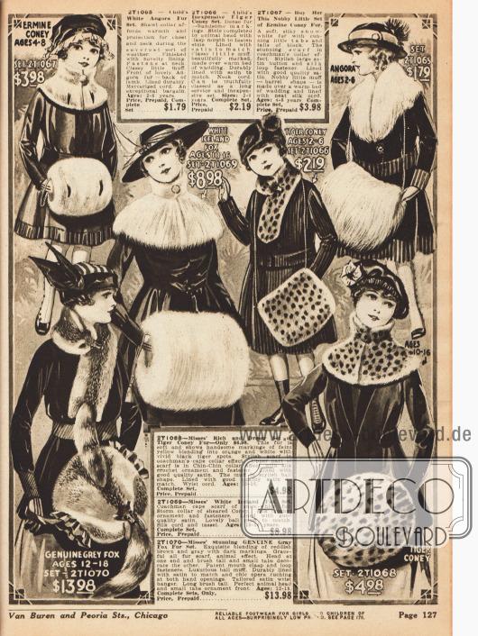 Pelzsets bestehend aus Schals, Kragen, Muffen und Kutscherkragen für kleine Mädchen ab zwei Jahre und junge Damen bis 18 Jahre.Die Sets bestehen aus Kaninchen-, Angorakaninchen- und Fuchspelz und kosten bis zu 13,98 Dollar.