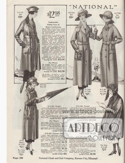 """""""'National' [Regenmäntel]"""" (engl. """"'National' [Raincoats]""""). Wasserdichte Regenmäntel aus Kunstleder, gummiertem Baumwoll-Popeline, gummiertem Woll- und Baumwoll-Tweed-Mischgewebe und gummiertem """"Canton Cloth"""" für Damen, junge Frauen und Backfische sowie Mädchen ab 8 Jahre. Die Regenmäntel besitzen konvertierbare Kragen, große aufgesetzte Taschen mit Taschenpatten und Handgelenkriemchen zum Verschluss. Passende Regenhauben bzw. Regenhüte sind zudem im Angebot. Der Kunstledermantel oben links ist ideal für Freiluftaktivitäten und Automobilistinnen. Er besitzt Belüftungslöcher unterhalb der Achselhöhlen. Unten rechts ein Regencape mit Kapuze aus merzerisiertem Satin mit gummiertem Innenleben."""