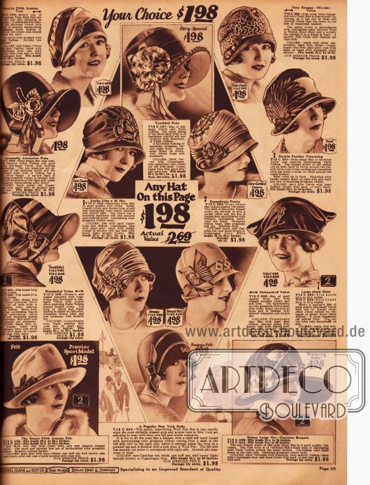 """""""Jeder Hut auf dieser Seite für 1,98 $"""". Auf dieser Seite finden sich 4 Modelle im Poke Bonnet Stil, ein Knockabout Hut (unten links), ein Turban (Mitte rechts) und mehrere Glockenhüte aus Filz."""