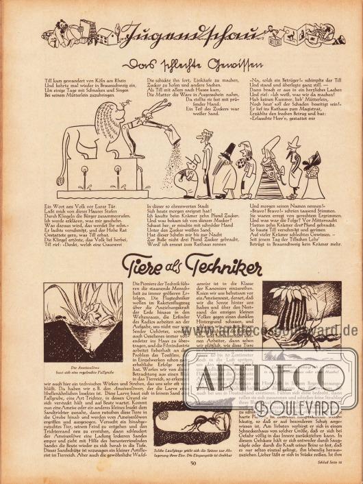 """Artikel (Jugendschau):O. V., Das schlechte Gewissen&#x3B;O. V., Tiere als Techniker.Beide Artikel sind mit Zeichnungen bebildert. Die unteren Zeichnungen haben die Bildunterschriften """"Der Ameisenlöwe baut sich eine regelrechte Fallgrube"""", """"Der Einsiedlerkrebs verbirgt sich am liebsten in einem Schneckenhaus oder einer Muschel"""" sowie """"Solche Laufgänge gräbt sich die Spinne zur Ablagerung ihrer Eier. Die Eingangstür ist drehbar""""."""