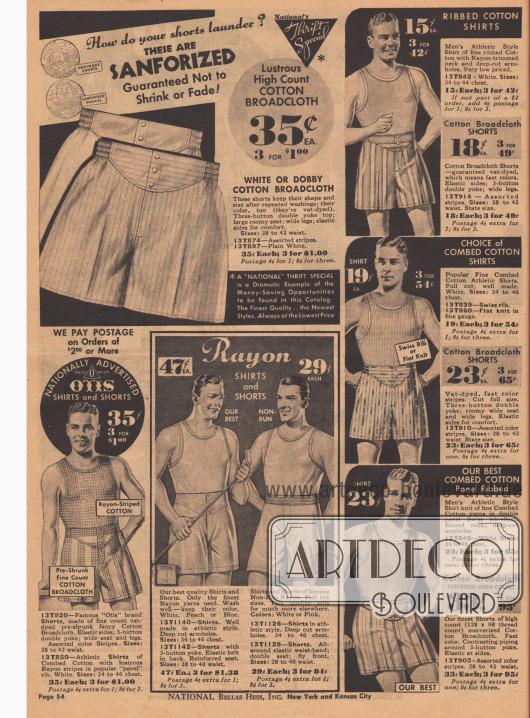 Athletische Shorts und Unterhemden, die garantiert nicht einlaufen oder verblassen (siehe Abbildung oben rechts).