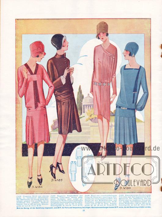 4186: Elegantes Kleid aus altrosa Seide in kleidsamer Blusenform. Die Halsblende, die durch einen Einschnitt geleitet frei ausfällt, ist im dunklen Ton gehalten. 4187: Straßenkleid aus braunem Crêpe Satin, dessen glänzende Stoffseite nach außen genommen ist. Weiße Ärmelpuffe aus Georgette. Am breiten Gürtel Schnalle. 4188: Kleid aus rosenholzfarbenem Crêpe de Chine mit einseitigem Plisseeteil, der unten zipfelig ausfällt. Der Gürtel ist aus Metallplättchen und Stoffteilen zusammengesetzt. 4189: Blusenkleid aus bleufarbenem Veloutine mit tief angesetztem Tollfaltenrock. Die Halsblende und der Gürtel sind im dunklen Ton gehalten. Agraffe und Gürtelschnalle aus Strass.