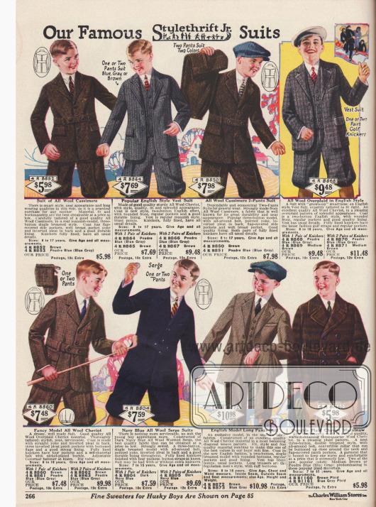 Anzüge mit kurzen Hosen und ein Anzug mit langen Hosenbeinen für Jungen von 8 bis 18 Jahren aus Woll-Kaschmir, Woll-Cheviot und Woll-Serge. Unten rechts ist eine Mackinaw-Jacke aus Woll-Cheviot.