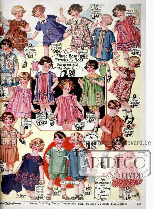 """Sogenannte """"Bloomer Dresses"""" (weit geschnittene Kleidchen mit passenden Höschen) für kleine Mädchen bis max. 6 Jahre aus Schleierstoff, Gingham, Breitgewebe, Baumwoll-Seide sowie Seiden Crêpe de Chine."""