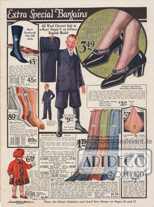 Seite mit Sonderschnäppchen wie Socken aus Seide für Männer, Damenstrümpfe aus Rayon und Seide, ein Anzug mit kurzen oder langen Hosenbeinen für Jungen aus Woll-Cheviot, Damenschuhe aus Lackleder, einem Mäntelchen für kleine Mädchen mit passender Mütze aus Chinchilla, Taschentücher und Woll-Flanell zum Nähen von Kleidern.