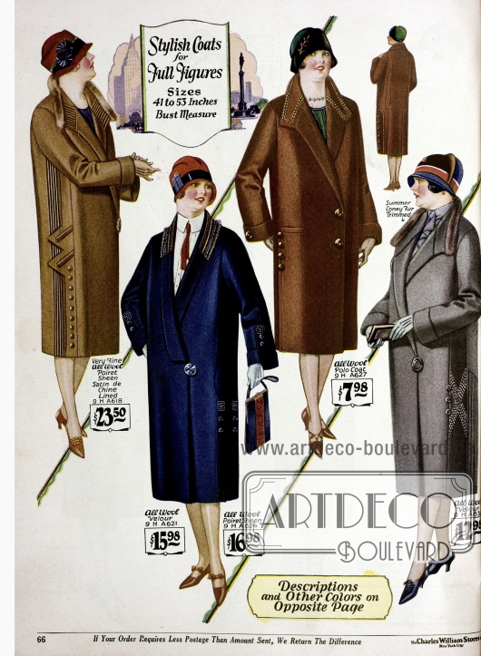 """Damenmäntel für stärker gebaute Frauen in konservativen Ausführungen aus reinen Wollstoffen wie z.B. Woll-Velours und """"Poiret Sheen"""" sowie teilweise mit Kaninchenbesatz."""