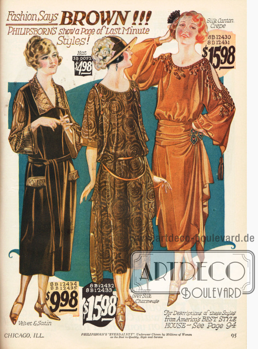 """Feine Damenkleider aus Samt-Satin, Seiden-Charmeuse mit einem Oberstoff aus Seidenspitze und einem Kleid aus Seiden-Krepp. Die """"langgezogene Taille"""" (die lose Taillierung) ist die neue Mode der Saison 1922-23. Braun ist die Modefarbe des Herbstes."""