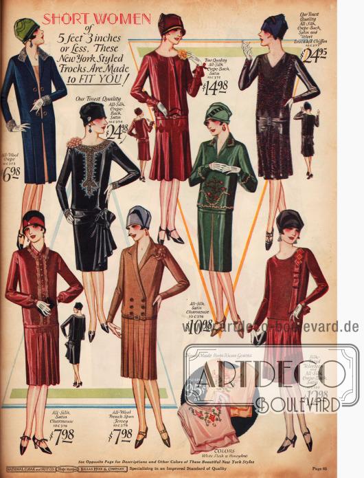 Kleider speziell für die Dame die kleiner als 5 Feet und 3 Inch (1,60m) ist. Die Stoffe sind Woll-Krepp, Seiden-Satin-Charmeuse, Seiden-Krepp, Woll-Jersey und Samt-Chiffon. Links oben befindet sich ein Mantelkleid für 6,98 $.