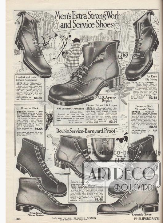 """""""Extra belastbare Arbeits- und Berufsschuhe für Männer"""" (engl. """"Men's Extra Strong Work and Service Shoes""""). Arbeitsschuhe und Armeekurzstiefel (""""U.S. Army Style"""") für Feld-, Bauernhof-, Bau- oder Forstwirtschaftstätigkeiten aus Kalbsledern, Ziegenledern oder """"Ooze Leather"""" (meist Kalbsleder, das ein spezielles Gerbverfahren durchlaufen hat). Sohlen und Oberleder sind bei den meisten Modellen vernietet. Einzelne Modelle mit Lochlinienverzierungen an der Kappe oder glatt verarbeitet. Schnürung wahlweise im Derby- oder Oxford-Stil."""