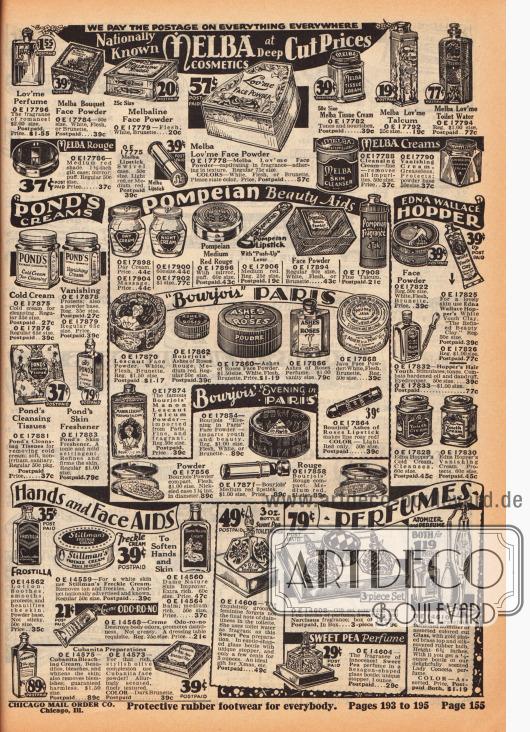 Rouge, Gesichspuder, Lippenstifte, Lotionen, Perfüme, Cremes und Reinigungstücher der Hersteller Melba, Pompeian, Bourjois und Edna Wallace Hopper finden sich auf dieser Seite. Unten rechts befindet sich ein Deodorant in der Tube der Marke Odorono.
