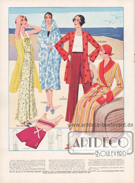 """SK 134: Strandcomplet aus gemusterter Kunstseide für den Anzug und einfarbigem Material für die ärmellose Jacke, die mit weißem Schalkragen versehen ist. Das Beinkleid ist der Bluse angeknöpft. Stoffverbrauch: etwa 4,85 m gemusterter, 3,70 m einfarbiger, je 80 cm breit. Schnittgröße 44. Preis RM 1,-. H 178: Badecape aus groß gemustertem Frottierstoff. Die Passe ist durch gleichmäßig ausgeführte Reihziehung gebildet. Hochstehender, gereihter Kragen. Stoffverbrauch: etwa 2,90 m, 150 cm breit. Schnittgröße 44. Preis RM 1,-. J 6454/55: Strandcomplet: Anzug, bestehend aus weißer, ärmelloser Bluse und rotbraunem Beinkleid, das durch einen braunen Wildledergürtel gehalten ist. Jacke aus rostroter, braun bedruckter Kunstseide. Stoffverbrauch zum Anzug: etwa 1,25 m weißer, 2,25 m brauner, je 80 cm breit, zur Jacke: 2,90 m, 80 cm breit. Schnittgr. 44 und 48. Zur Jacke 75 Rpf., zum Anzug RM. 1,-. J 6456: Bademantel aus gestreiftem Frottierstoff mit Schalkragen. Manschetten und Taschen in Rostrot. Eine rostrote Schnur hält die Weite zusammen. Stoffverbr.: etwa 2,60 m, 0,60 m Besatzstoff, je 140 cm br. Schnittgr. 44 u. 48. Preis 1,-.  Badeanzug aus modefarbenem und weinrotem Trikot; Marke """"Juvena"""". [Seite 26f]"""