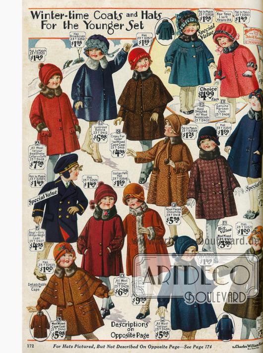 Wintermäntelchen für kleine Mädchen mit passenden Hütchen aus Wollmixstoffen, Woll-Velours und Breitgewebe. Ein blauer Marinemantel für Jungen und Mädchen ist auch dabei.