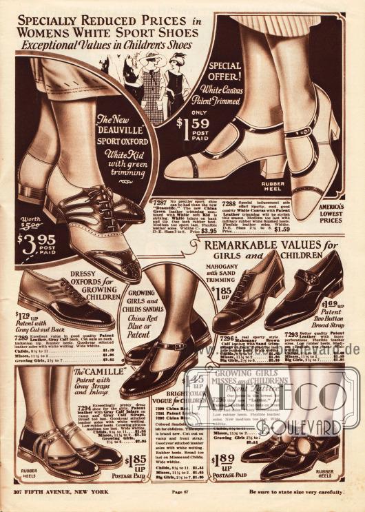 """Damenschuhe aus Kanevas (engl. """"canvas""""). Das linke Paar, ein Sportoxford mit der Bezeichnung """"Deauville"""", ist mit grünem Chevreauleder (Ziegenleder) attraktiv kombiniert. Auch das rechte sommerliche Schnallenschuhpaar ist mit Lackleder berandet.Darunter befinden sich sportliche Schuhe und Schuhe für den Alltag für junge Mädchen. Die Sandalen für Mädchen sind aus Lackleder oder Kalbsleder gearbeitet und mit niedrigen Gummiabsätzen versehen."""