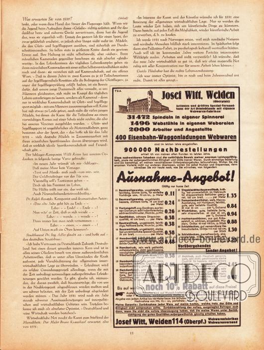 Artikel:Fischer, Alfred Joachim, Was erwarten Sie von 1931? Eine Rundfrage, veranstaltet von Alfred Joachim Fischer.Werbung:Josef Witt, Weiden 114 Oberpfalz.