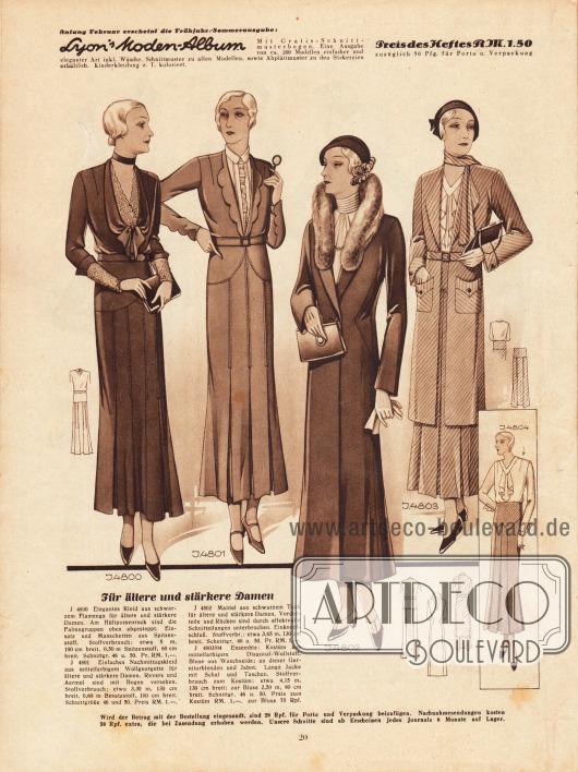 Ein elegantes Kleid, ein Nachmittagskleid, ein Mantel und ein Kostüm für die ältere Frau ab 50 Jahre. 4800: Elegantes Kleid aus schwarzem Flamenga. Die Faltengruppen des Hüftpassenrockes sind oben abgesteppt. 4801: Nachmittagskleid aus mittelfarbigem Wollgeorgette. Revers und Ärmel sind mit Bögen versehen. 4802: Mantel aus schwarzem Tuch mit effektvollen Schnittteilungen im Taillenbereich. 4803/04: Ensemble: Kostüm aus mittelfarbigem Diagonal-Wollstoff, Bluse aus Waschseide; an dieser Garniturblenden und Jabot.