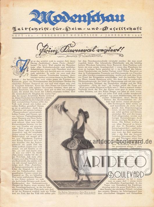 Titelblatt mit einem Foto der Berliner Schauspielerin Maria West in einem originellen Faschingskostüm. Foto: Becker & Maass. Artikel: Wedekind, Anna P., Prinz Karneval regiert!