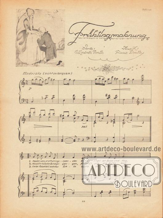 """Musikbeilage der Modenschau mit dem Lied """"Frühlingsmahnung"""" und den dazugehörigen Noten vom Komponisten Franz Doelle (1883-1965) und den Liedzeilen von Elisabeth Doelle."""