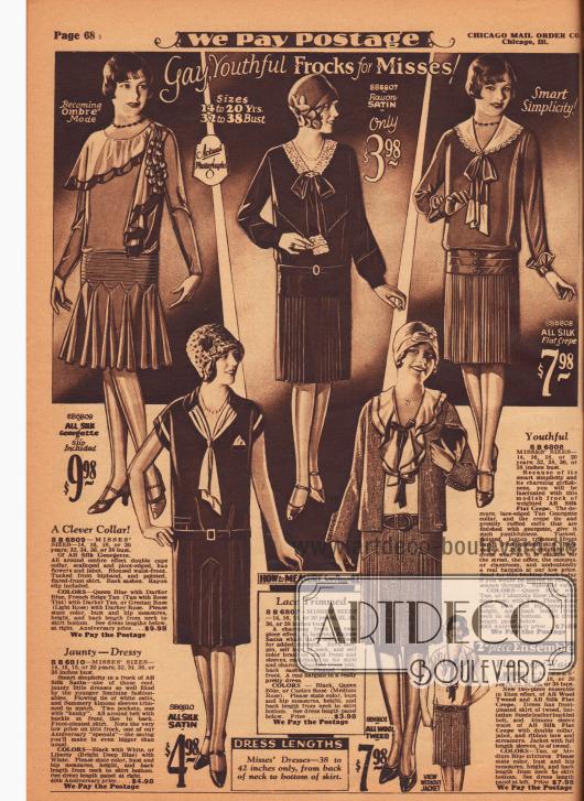 Drei mondäne Tages- und Nachmittagskleider (oben), ein ärmelloses Sommerkleid (unten links) sowie ein Jackenkleid für junge Damen zwischen 14 und 20 Jahren. Die Kleider sind aus Seiden-Georgette, Rayon-Satin, Seiden Krepp und Woll-Tweed. Die Kleider der Röcke sind mit Kellerfalten, Plisseeeinsätzen oder gänzlich plissiert oder weit und Falten werfend geschnitten. Schleifen, Biesen, asymmetrische Capekragen, überlappende Doppelkragen, Garnituren aus Écruspitze oder Georgette geben jedem Modell einen eigenen Charakter.