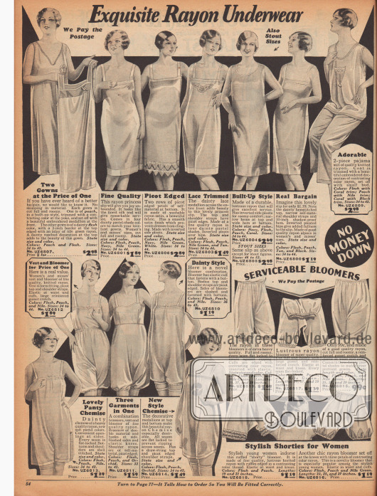 Doppelseite mit Unterwäsche vor allem aus seidig glänzendem Rayon für Frauen und Mädchen, wie knielange Unterröcke, Hemdchen, Pumphöschen, einteiligen Hemdhöschen Kombinationen und zweiteiligen Sets bestehend aus Hemdchen und Höschen. Zudem werden hier auch ein Pyjama und ein Nachthemd angeboten.