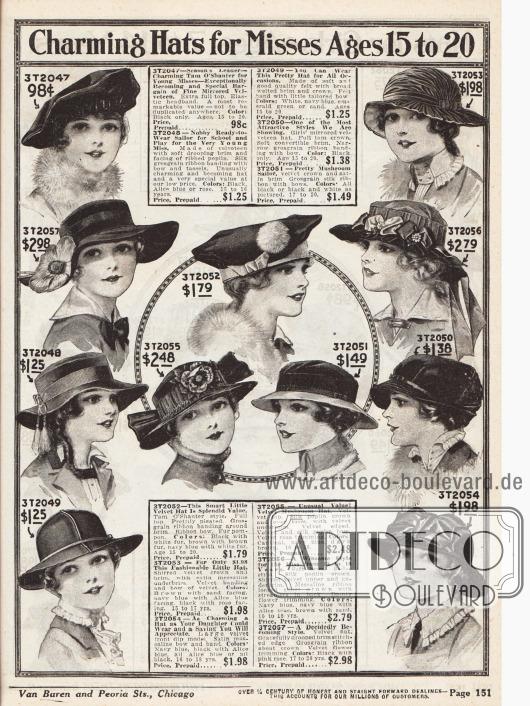 Hüte mit breiter Krempe und im Stil von Schottmützen (Tam o' Shanter) für junge Frauen vornehmlich aus Samt sowie Seide, Popelin, Satin und Satin-Messaline. Die recht zurückhaltend garnierten Hüte zeigen Rips- und Seidenbänder, Kunstblumen, Schleifen, Quasten oder auch Pompons (Modell 3T2052).