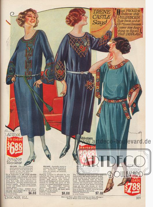 Kleider für junge Frauen aus Woll-Serge, Samt und Woll-Krepp zu günstigen Preisen. Breit ausfallende Ärmel (linkes Modell) und Kimonoärmel bei den anderen beiden Modellen reflektieren die aktuelle Mode. Das mittlere Kleid hat geschlitzte Ärmel, die die Arme teilweise freilegen. Seidenstickereien und farbenfrohe Borten fügen eine besondere Note zu der sonst so einfachen Modelinie hinzu.