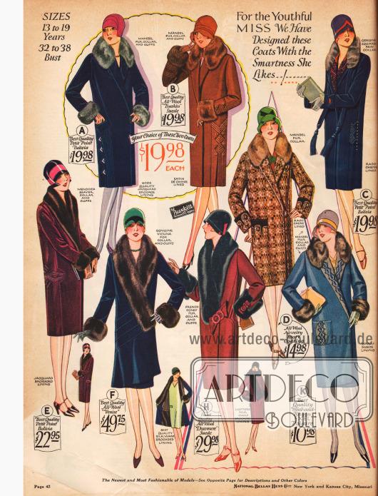 """""""Für das jugendliche Fräulein haben wir diese Mäntel gestaltet, mit der Eleganz die sie mag!"""" lautet die Überschrift dieser Seite mit Damenmänteln."""