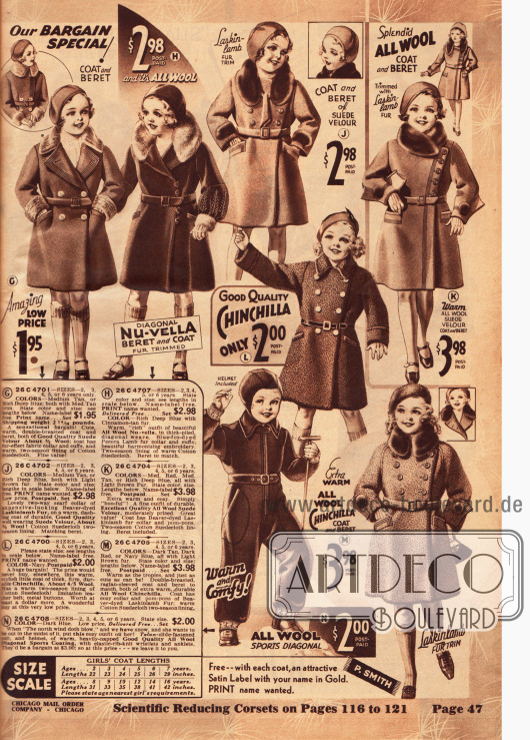 Mäntel und ein Schneeanzug mit seitlichem Reißverschluss für kleine Mädchen.
