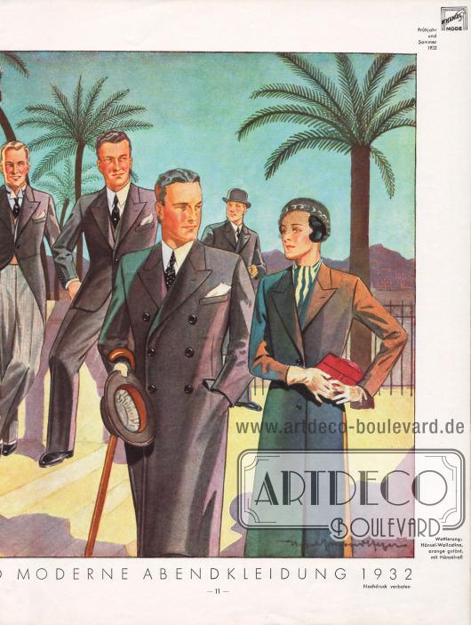 Elegante Besuchs- und Abendkleidung für den Herrn. Schwarze Sakkos mit schwarzer oder grauer Hose sind obligatorisch. Beim Frack sowie einem Smoking fällt ein stehender Hemdkragen auf. Einreihige Sakkos werden auf einem Knopf geknöpft. Die Fasson der Sakkos (Revers) ist hochstehend. Zeichnung: Harald Schwerdtfeger.