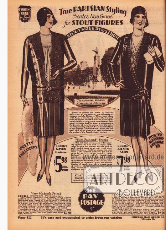 Zwei Kleider für vollschlanke Damen aus Rayon Krepp und Seiden-Satin. Das erste Kleid zeigt einen Westeneinsatz mit Jabot. Das Oberteil ist außerdem regelmäßig und unaufdringlich bestickt. Das zweite Modell zeigt ebenfalls einen Westeneinsatz und eine seitliche Rockdrapierung ausgehend von der Hüfte. Die Röcke beider Kleider sind plissiert.