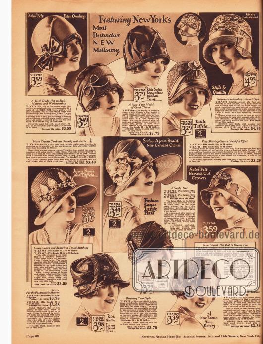 """Mondäne Hüte für Damen aus """"Soleil Felt"""" (hoch qualitativer Filz), """"Visca"""" Stroh, Satin und """"Pedaline"""" Strohgeflecht, Faille Taft, halbdurchsichtigem Schweizer """"Ajour"""" Strohgeflecht und einem neuartigen Hutmachergewebe namens """"Rayfaille"""" mit schimmernder Oberfläche.Die Hüte sind typischerweise mit Ripsbändern, Schleifen, Hutnadeln, Strassornamenten, großflächigen Stickereien sowie Kunstblumen und Blattwerk garniert. Die meisten Hüte zeigen keine oder nur sehr knappe Krempen, die oftmals umgeschlagen werden. Breitkrempige Sommerhüte, Schutenformen, schottenartige Hutformen (angelehnt Schottenmützen und Baretts) und Turbane (unten rechts) sind die gegenwärtig modernen Hutformen."""