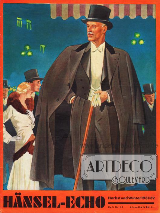 Titelseite der Herbst/Winter Ausgabe des Firmenmagazins Hänsel-Echo Nr. 10 von 1931. Zeichnung/Illustration: Harald Schwerdtfeger (1888-1956).