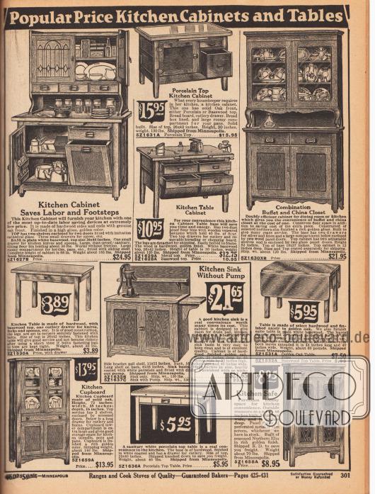 """""""Beliebte günstige Küchenschränke und Tische"""" (engl. """"Popular Price Kitchen Cabinets and Tables""""). Küchenschränke, Schränke für Porzellan und Geschirr, Tische für die Küche, hüfthohe Küchenschränke mit Arbeitsfläche aus Porzellan oder Holz sowie eine Holzspüle mit Pumpe. Unten rechts wird ein Küchen-Sicherheitsschrank (""""Kitchen Safe"""") mit perforierten Metalltüren offeriert."""