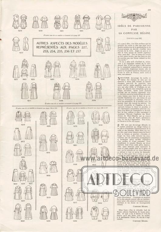 Artikel:Comtesse Régine, Idées de parisienne par la comtesse régine.Auf dieser Seite finden sich auch die Vorder- sowie die Rückansichten der Modelle der Seiten 227 und 233-237.