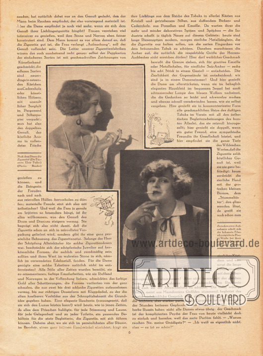 Artikel: Panther, Pola, Die Dame und die Zigarette. Mit zwei Fotografien der rauchenden Tänzerin Elsie Fuller (1901-?) und der Filmschauspielerin Hanni Weiße (1892-1967). Fotos: Binder.